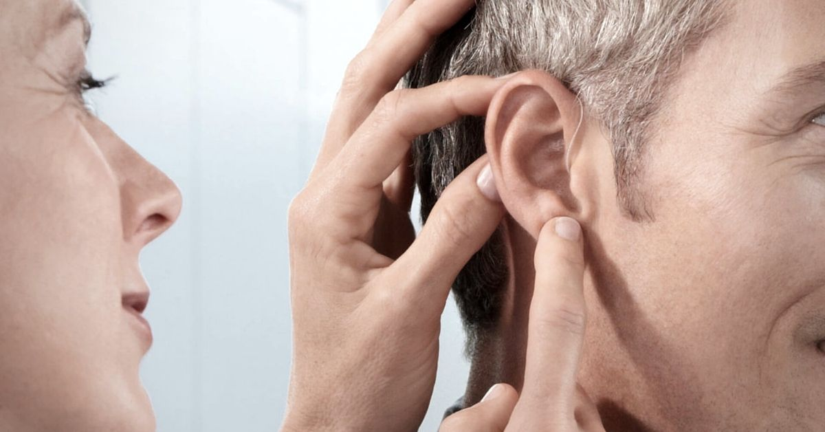 open fit hearing aid for man