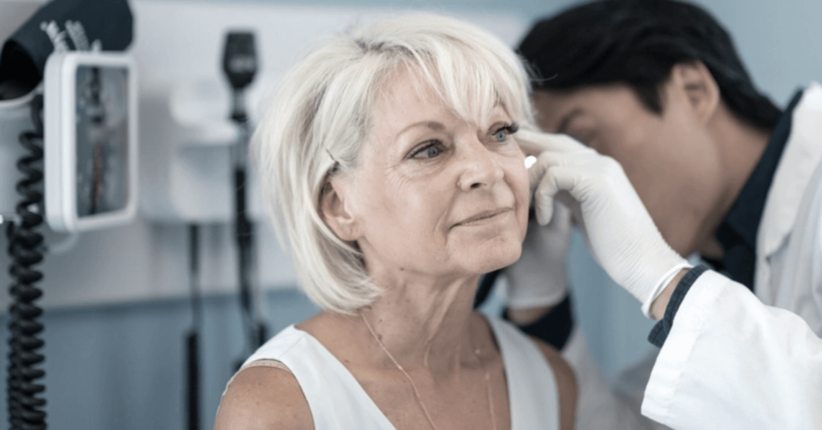 woman with conductive hearing loss